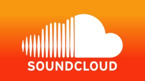 """SoundCloud logo, orange-red, white cloud over """"SOUNDCLOUD"""""""