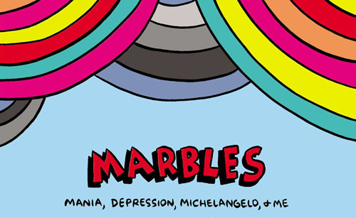 "Top portion of book cover, rainbow-colored graphic over ""Marb;es"" in comic type"