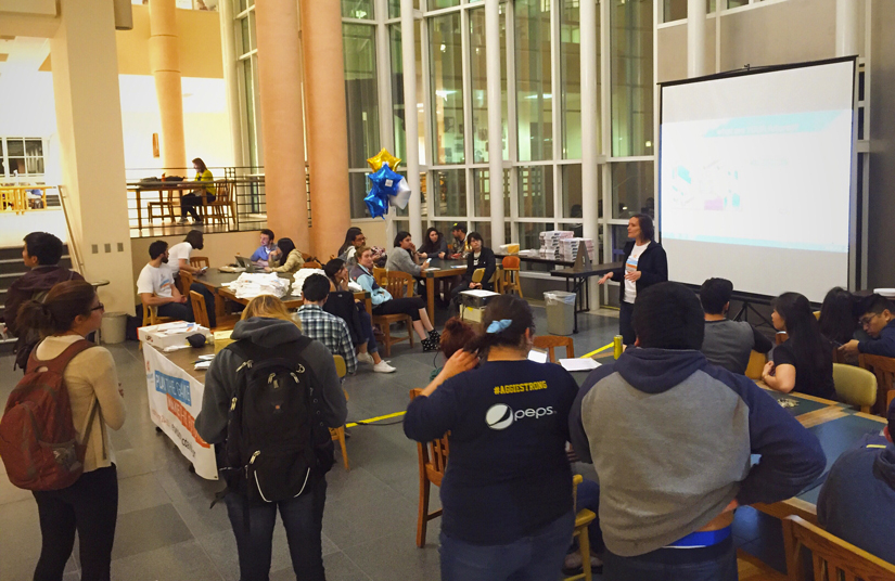 """Envision UC Davis"" huddle in Shields Library atrium"
