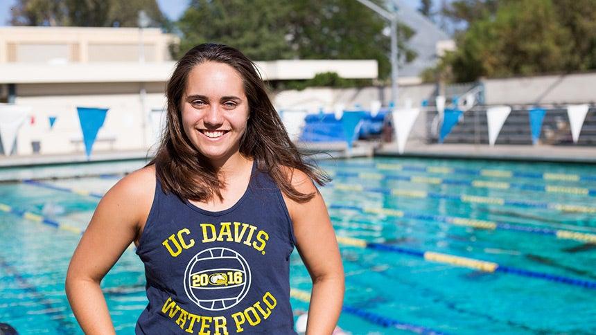 Sofia Caryotakis, member of the UC Davis Women's Water Polo Team