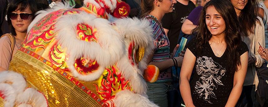 Lion dancer surprises student