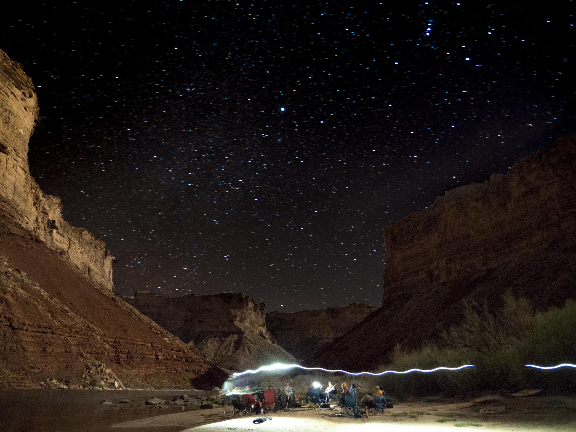 Night sky of stars at the Grand Canyon