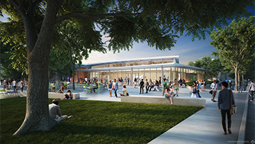 A rendering of the exterior of a large building