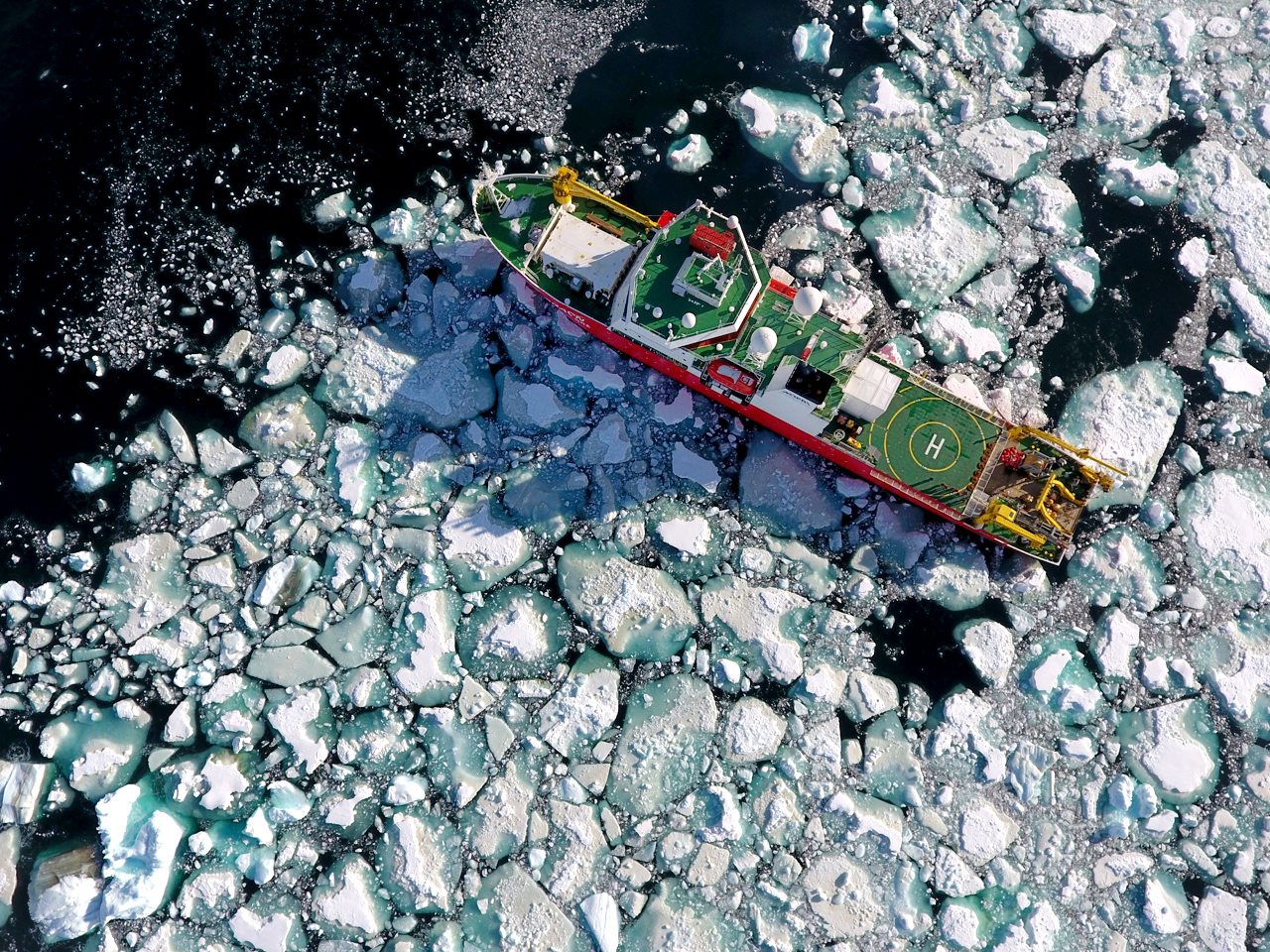 ice breaker in Antarctica