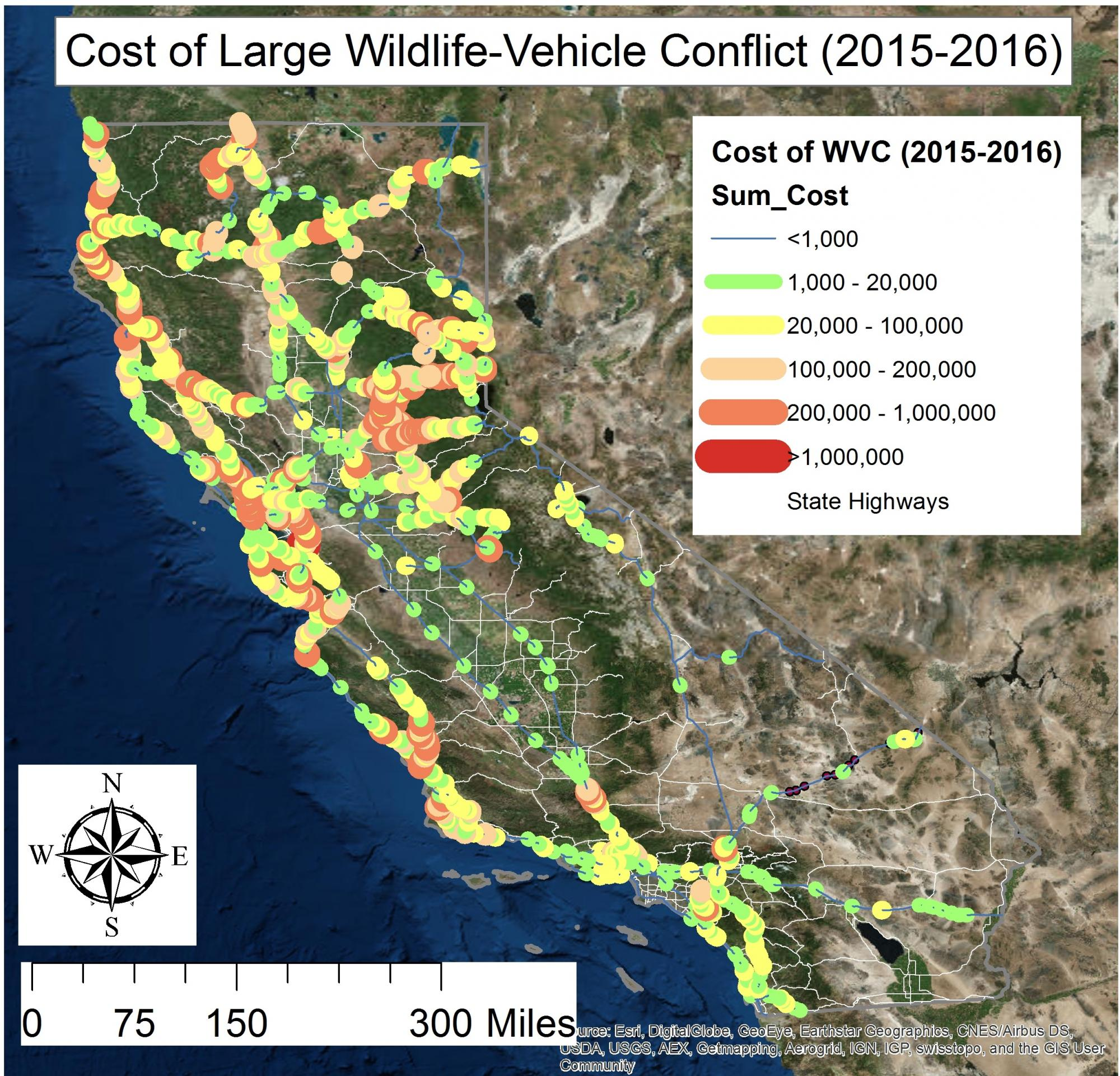 map showing cost/mile of roadkill on CA highways