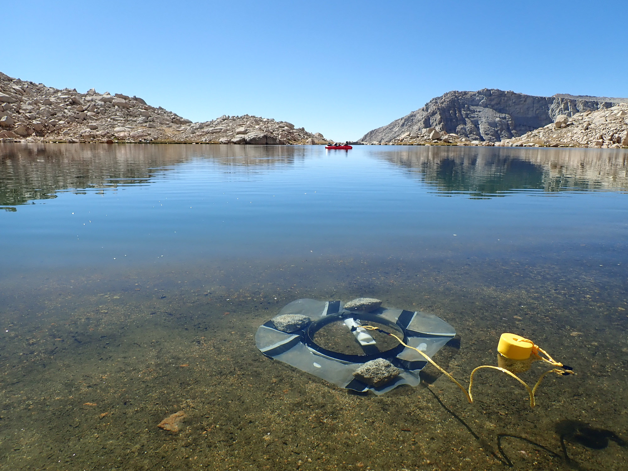Benthic chambers on small Sierra lake