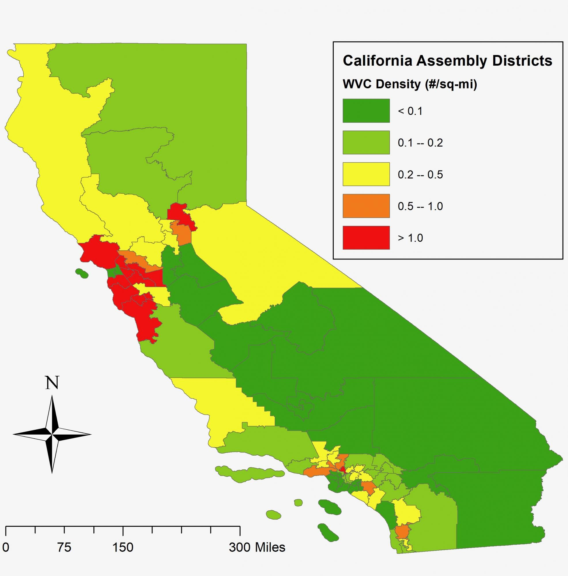 Map of roadkill density in CA by assembly district.