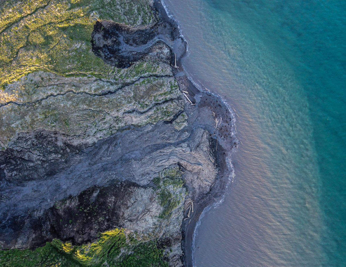 Drone-captured image of permafrost thaw in Arctic