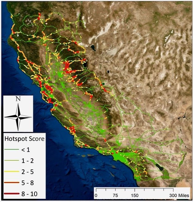 Roadkill hot spots in California map