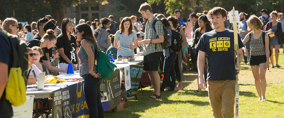 Many different clubs recruit new students on the UC Davis Quad.