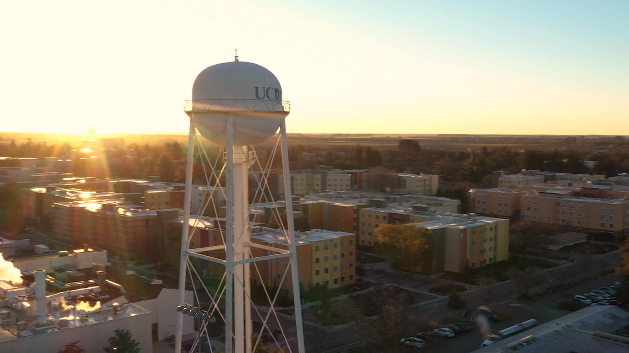 aerial image of UC Davis water tower