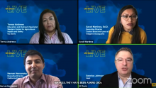 Four people in Zoom panel