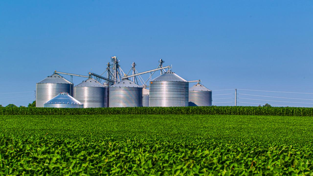 silos on farmland