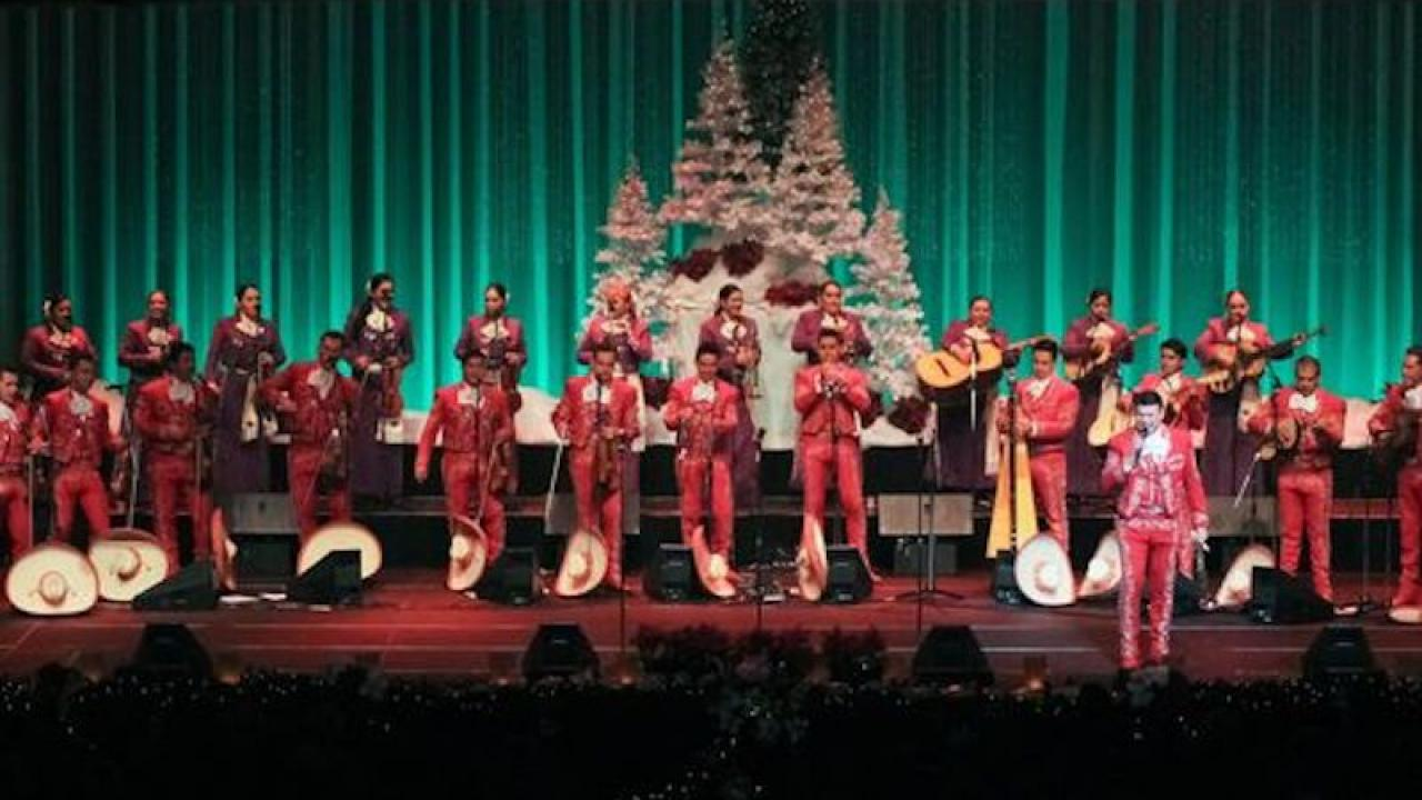 Mariachi Sol de Mexico on stage decorated with Christmas trees.