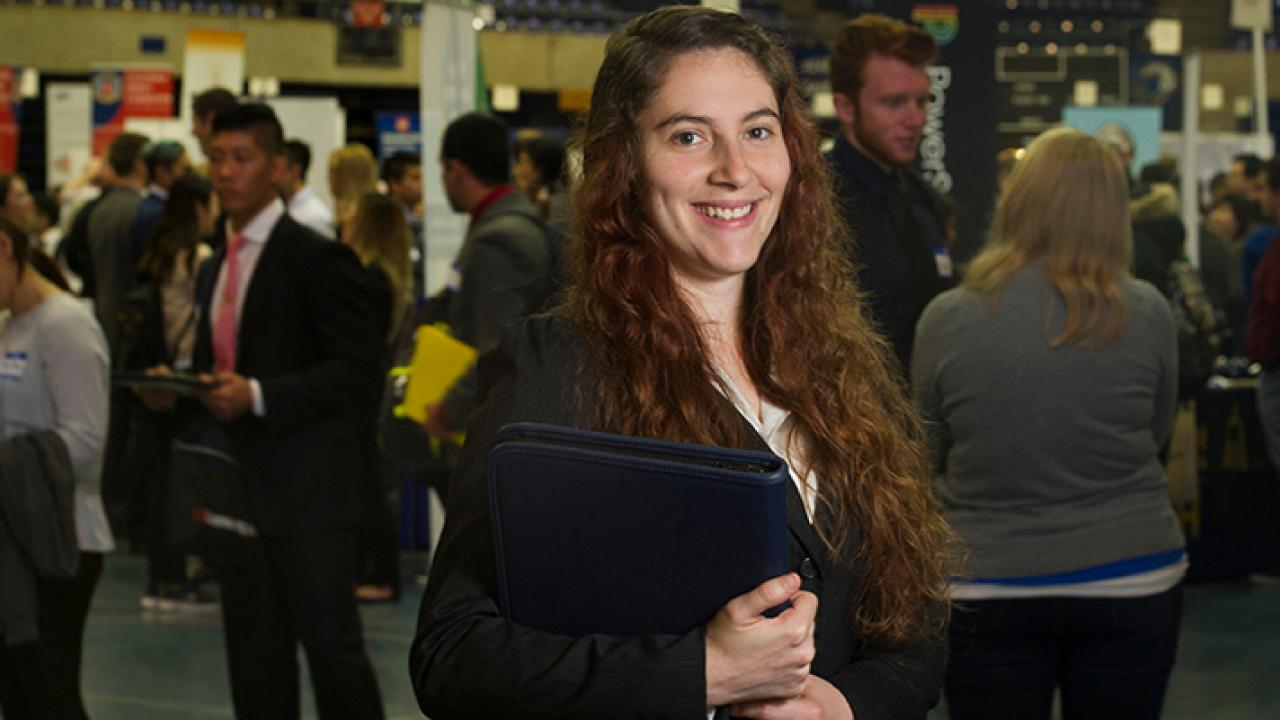 Stephanie Doria, a senior majoring in Evolution, Ecology & Biodiversity is photographed at a UC Davis career fair