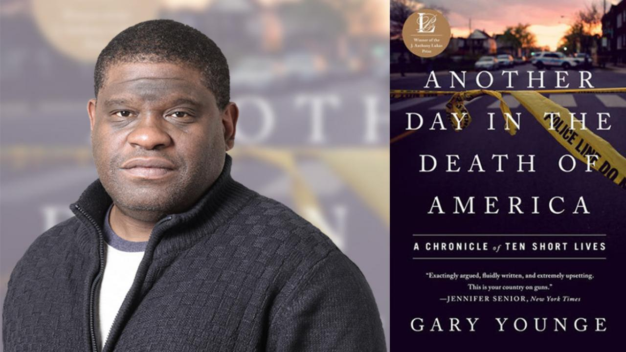 Photo of Gary Younge with cover of his book, Another Day in the Death of America: A Chronicle of Ten Short Lives.
