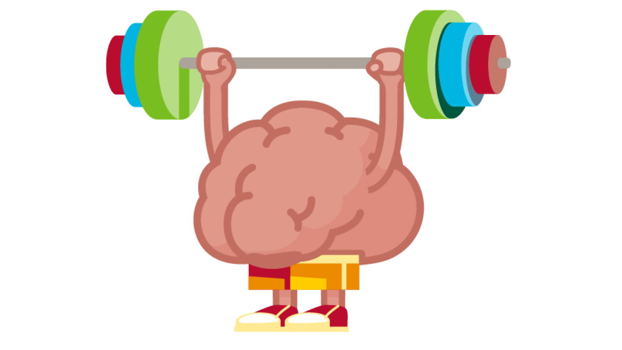 illustration of a brain lifting weights