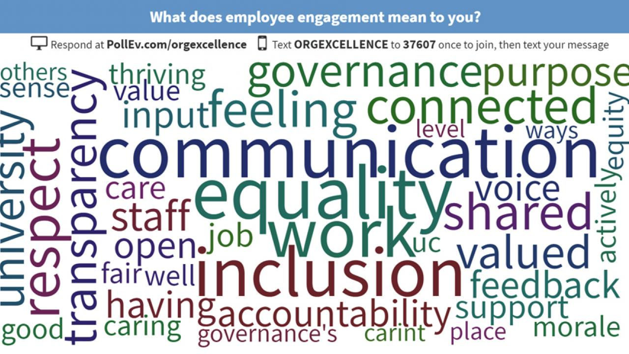 "Word cloud, emphasizing ""communication,"" ""equality"" and ""inclusion"""