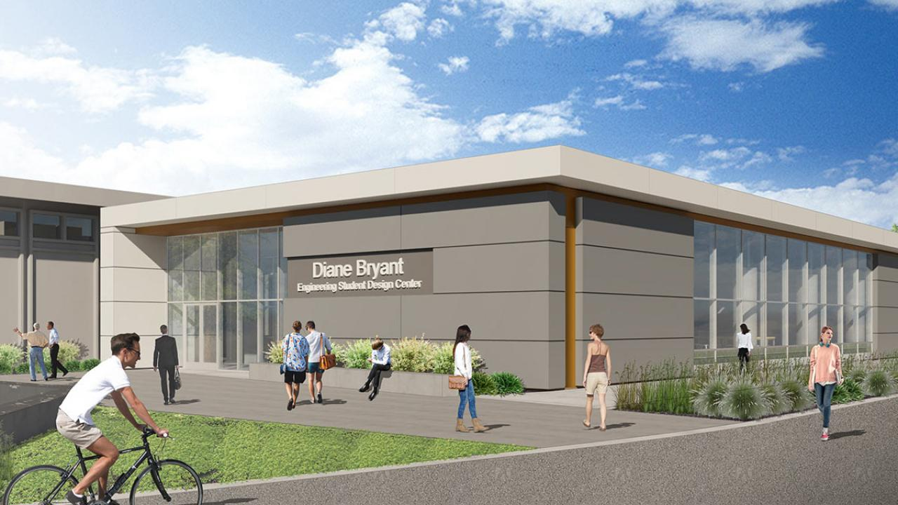 "Rendering of building exterior with sign, ""Diane Bryant Engineering Student Design Center"""