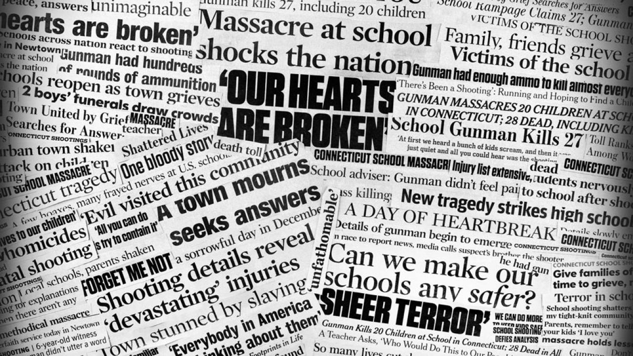Gun violence headlines, in a collage