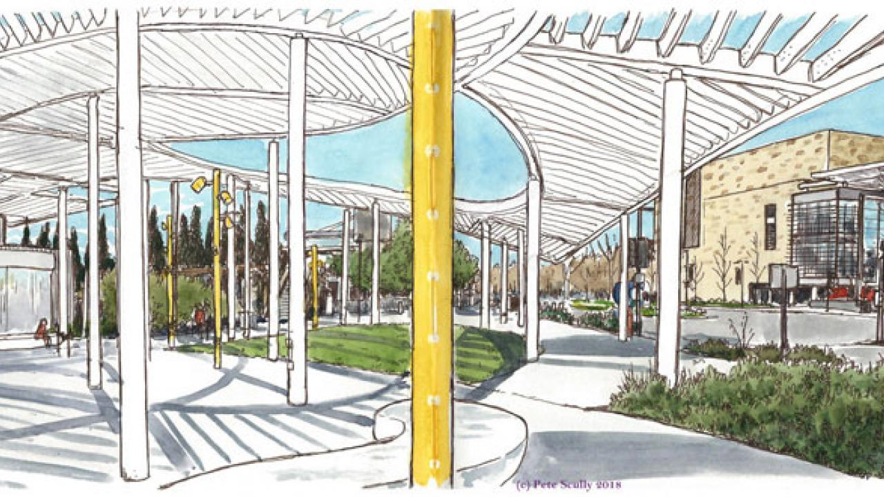 Pete Scully sketch of Jan Shrem and Maria Manetti Shreme Museum of Art canopy