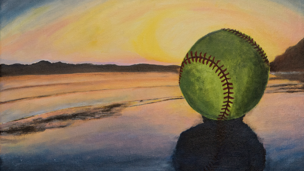 Painting: Softball on beach at sunset