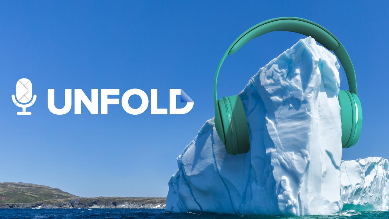 Illustrated photo depicts an iceberg at sea wearing giant headphones.