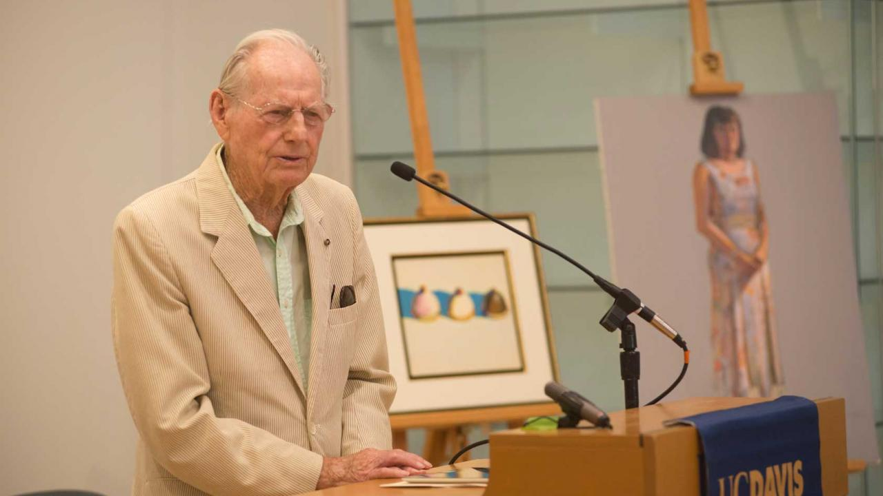 Wayne Thiebaud with Betty Jean's painting