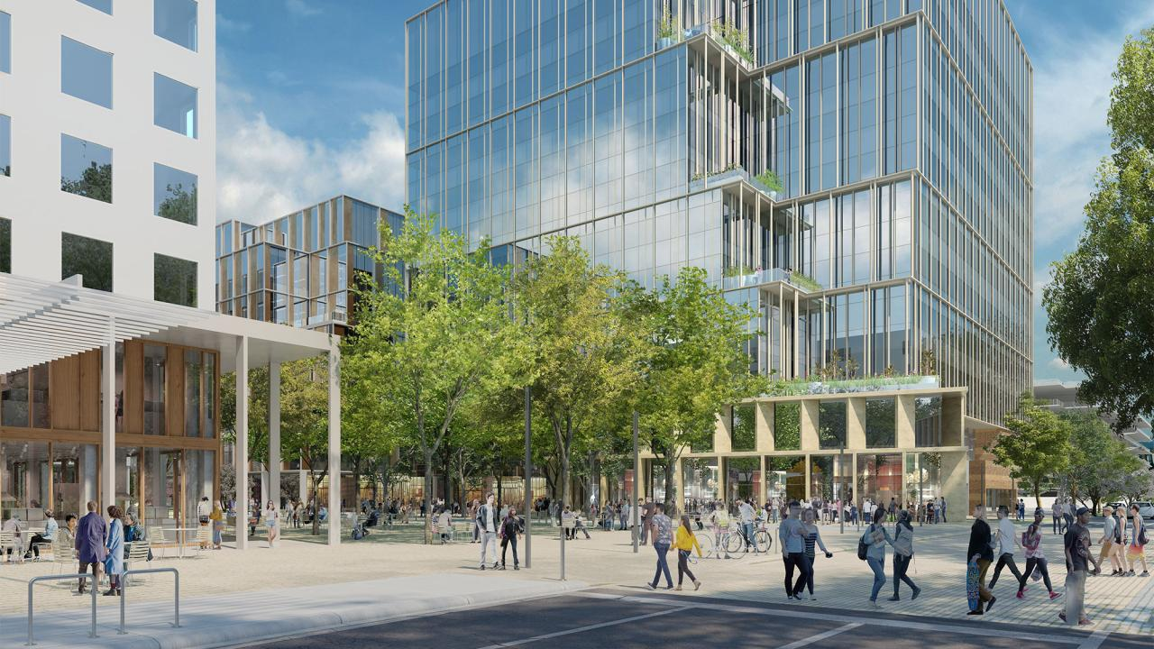 Rendering shows people walking around Aggie Square.