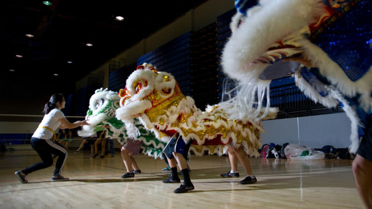 Students practice in the dancing lion dance club at UC Davis