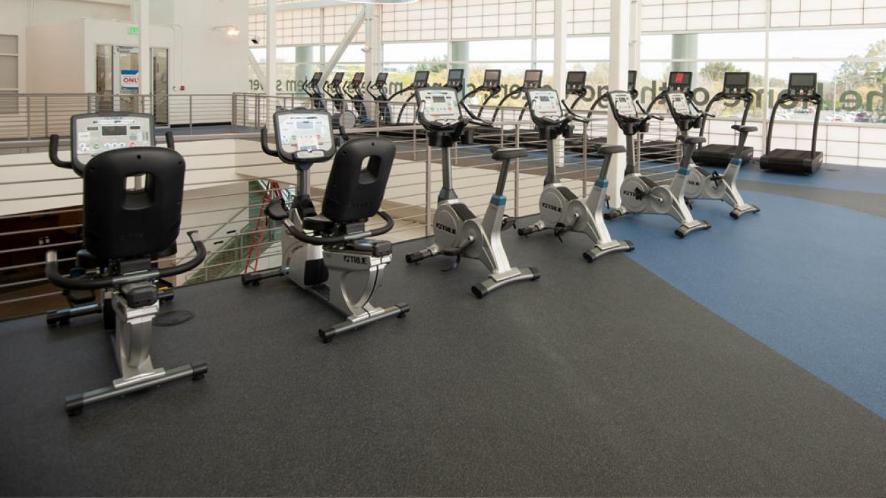 A row of exercise machines on the upper level of the UC Davis Activities and Recreation Center