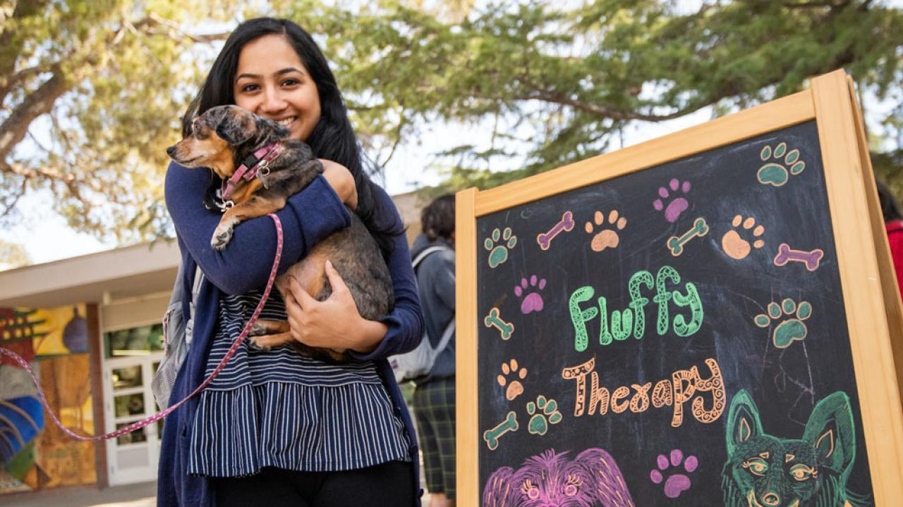 A student holds a puppy outside of the UC Davis Memorial Union