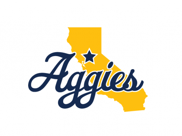 Aggies logo over california state