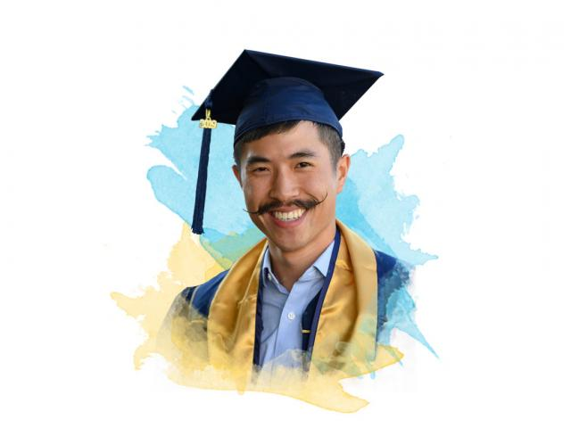 A UC Davis graduate with an amazing mustache