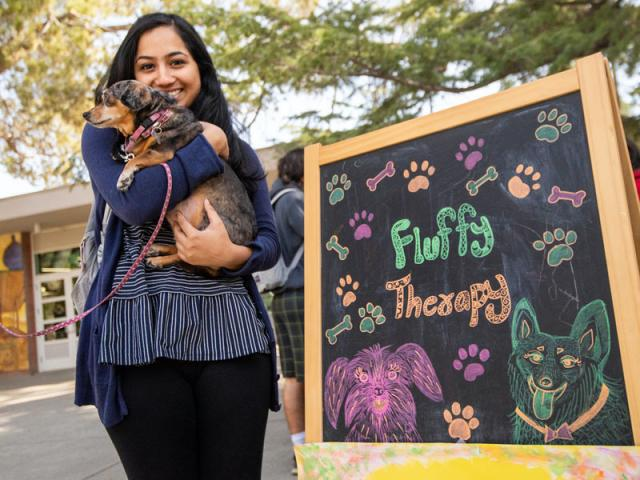 A student holds a puppy at the UCD memorial union