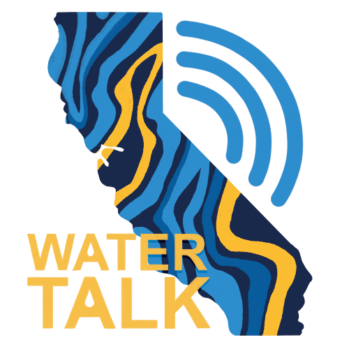 Water Talk podcast logo in shape of California
