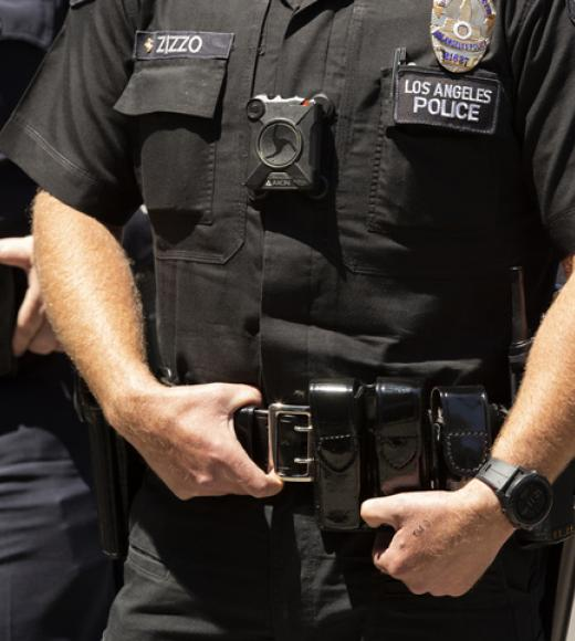 Body cam on a police officer