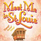 "Logo for Meet Me in St. Louis, including a drawing of a trolley with the words ""clang, clang, clang!"" next to it."