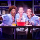Three waitresses making a pie at a table, blowing a handful of flour into the air.