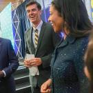 Chancellor Gary S. May with Dan Brown and London Breed.