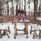 Outdoor table setting in winter