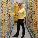 Photo: Lynn Kimsey amid specimen drawers.