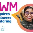 "Arpana Vaniya, smiling, in slide for virtual ceremony, recoignizing her as an MWM ""Trailblazer in Mentoring."""