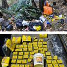 Photos: Researcher in the forst, amid trash; and rodenticide containers