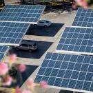 solar panels over cars in parking lot
