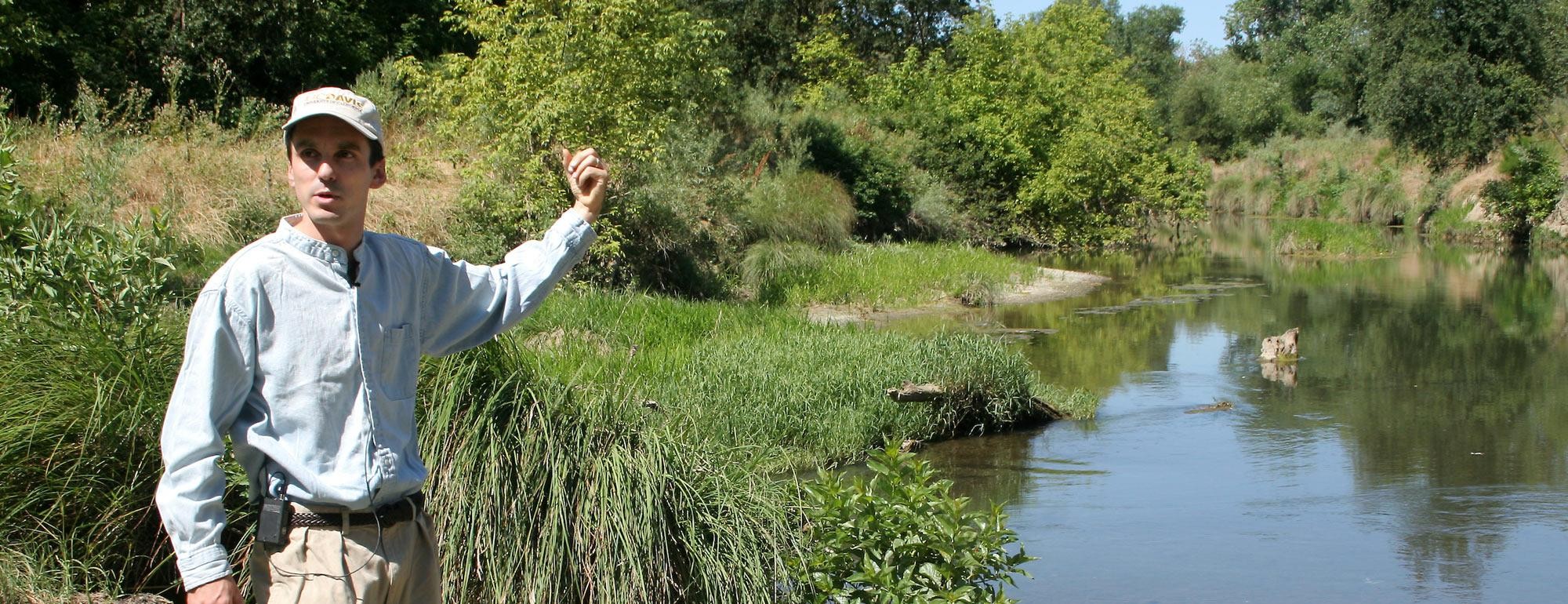 A UC Davis researcher points at a wetlands areas behind him