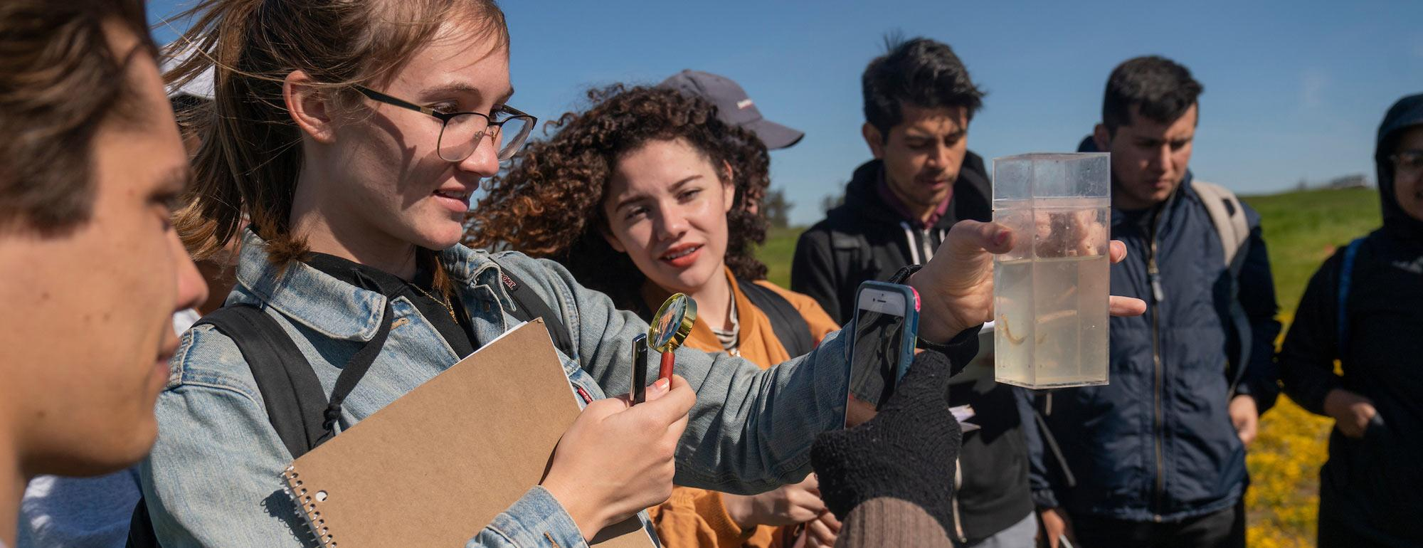 Students examine a field specimen