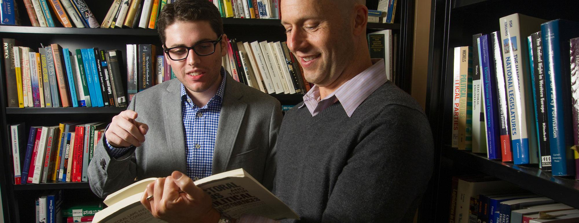 A student and a professor discuss a political science book