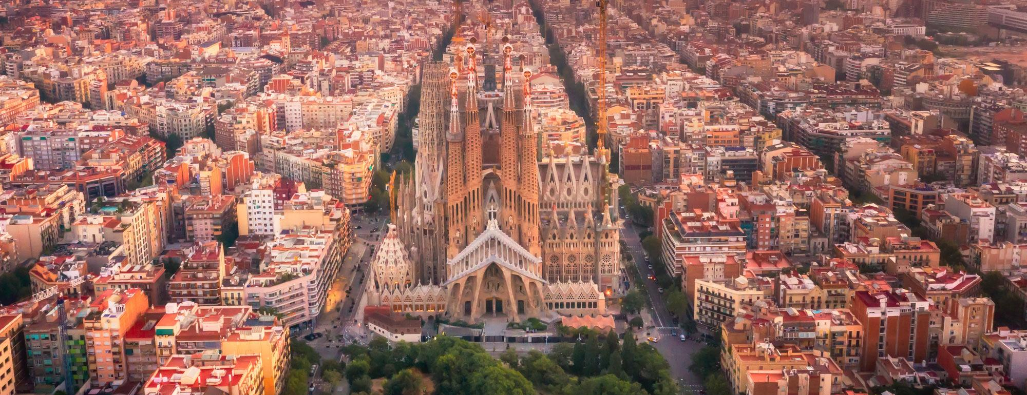 An aerial view of Barcelona