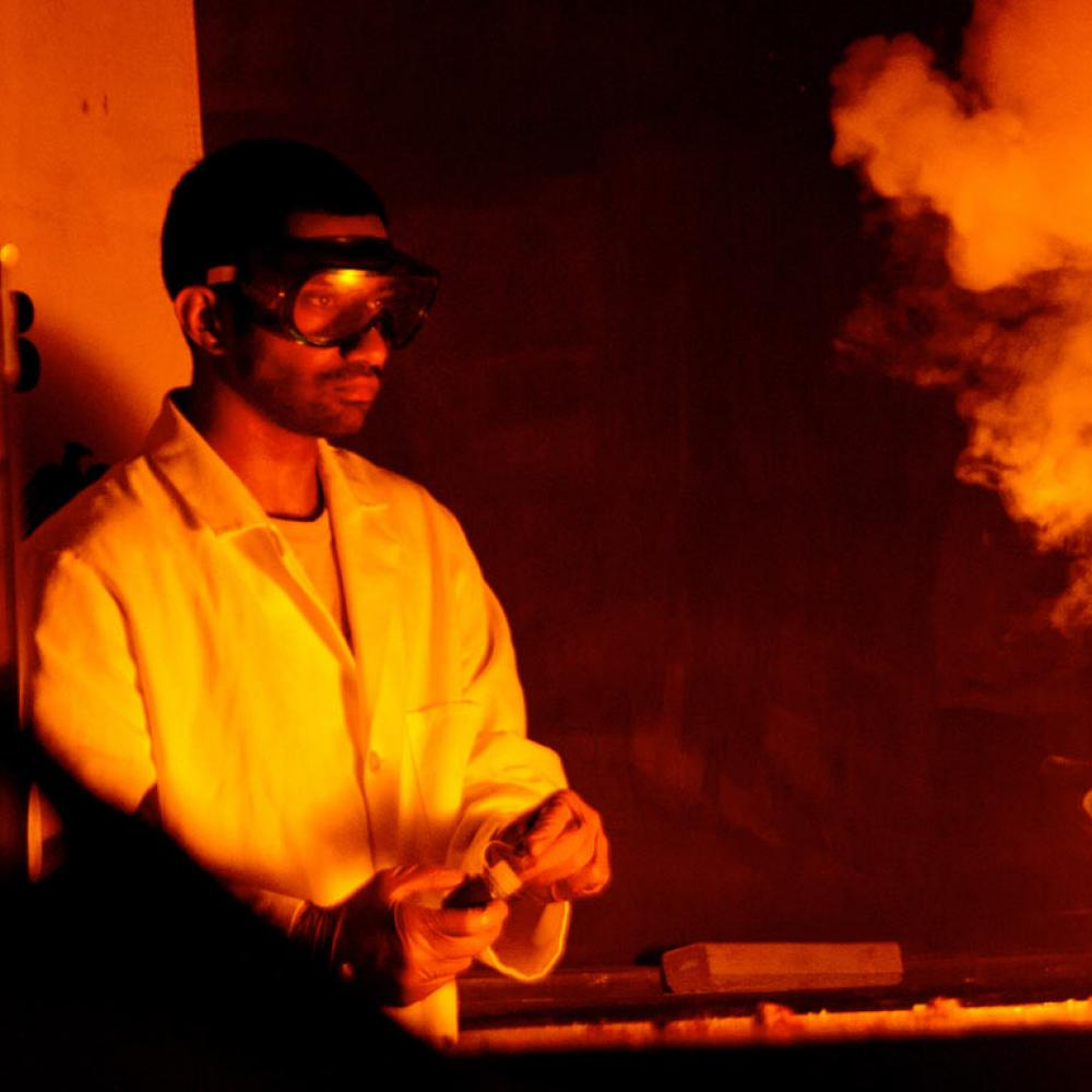 A student makes a flashy chemical reaction during the annual Picnic Day Chemistry Magic Show